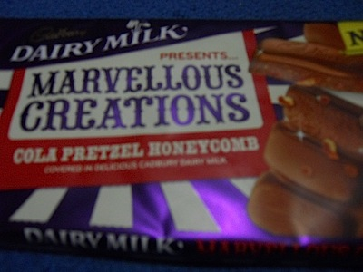 cola, pretzel, honeycomb, marvellous creations, dairy milk, cadbury